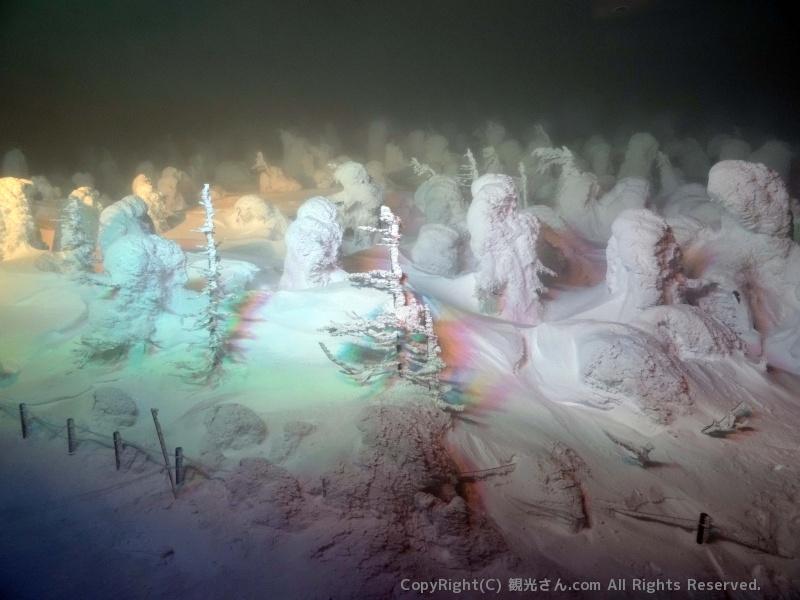 樹氷のライトアップ